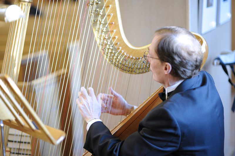 An orchestra member playing the harp